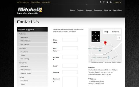 Screenshot of Contact Page mitchell1.com - Contact Us - Mitchell 1 Product Support - captured Sept. 21, 2018