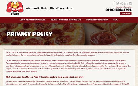 Screenshot of Privacy Page marcosfranchising.com - Privacy Policy - Marcos Pizza Franchising - captured Sept. 17, 2017
