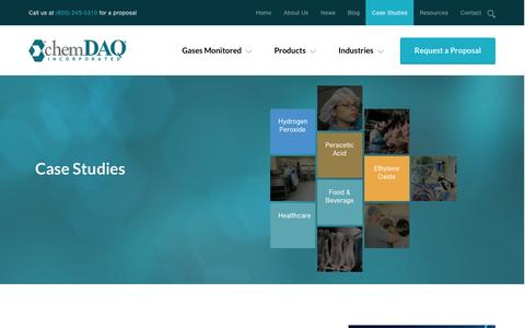 Screenshot of Case Studies Page chemdaq.com - Case Studies - captured July 3, 2016