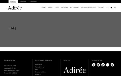 Screenshot of FAQ Page adiree.com - Adiree |   faq - captured Nov. 12, 2018