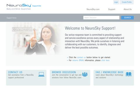 Screenshot of Support Page neurosky.com - Welcome - NeuroSky - Home Page Support - captured July 3, 2016