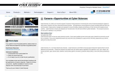 Screenshot of Jobs Page cyber-sciences.com - Careers | Cyber Sciences - captured July 6, 2017