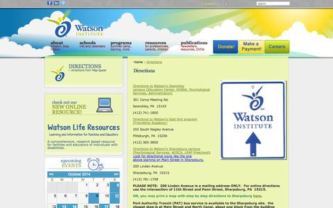 Screenshot of Maps & Directions Page thewatsoninstitute.org - The Watson Institute -  Directions - captured Oct. 9, 2014