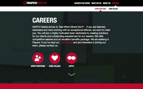 Screenshot of Jobs Page napco.com - A Career For Those Who See What Others Don�t - captured Jan. 10, 2016