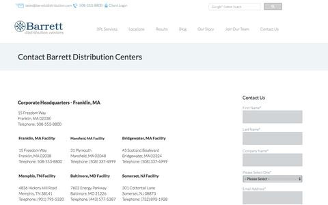 Contact Barrett Distribution   Contact Information