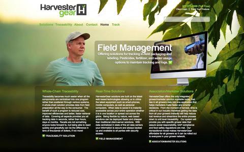 Screenshot of Home Page harvestergear.com - Harvest Solutions, Fresh Produce Traceability - HarvesterGear, Inc. - captured Sept. 29, 2014