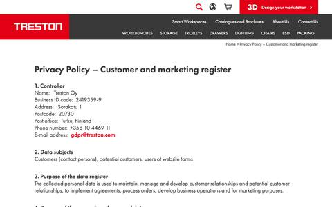 Screenshot of Privacy Page treston.com - Privacy Policy – Customer and marketing register | Treston - captured Oct. 20, 2018