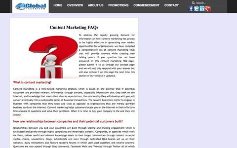 Screenshot of FAQ Page globaltechnicom.com - Content Marketing FAQs   Content Marketing Q&A   Global Technicom - captured Sept. 30, 2014