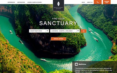 Screenshot of Home Page sanctuaryretreats.com - Luxury African Safari Holidays, Lodges & Camps - Sanctuary Retreats - captured Oct. 24, 2015