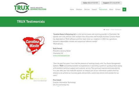 Screenshot of Testimonials Page trux.com - TRUX Testimonials   TRUX Waste Management Software - captured Feb. 27, 2016