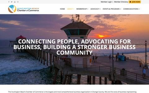 Screenshot of About Page hbchamber.com - Huntington Beach Chamber of Commerce - About - captured Sept. 29, 2018