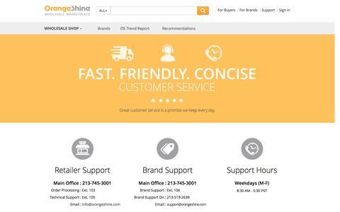 Screenshot of Support Page orangeshine.com - Support - Wholesale Marketplace, OrangeShine.com - captured Jan. 17, 2016
