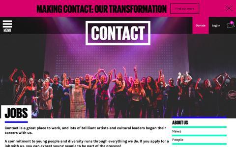 Screenshot of Jobs Page contactmcr.com - Jobs - Contact - captured Dec. 15, 2018