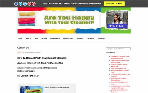 Screenshot of Contact Page perthprofessionalcleaners.com.au - Contact Us - Perth Professional Cleaners - captured Oct. 28, 2014