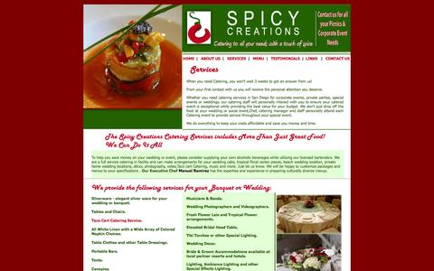 Screenshot of Services Page thespicycreations.com - San Diego Catering Service, serving in san diego county - captured Oct. 7, 2014