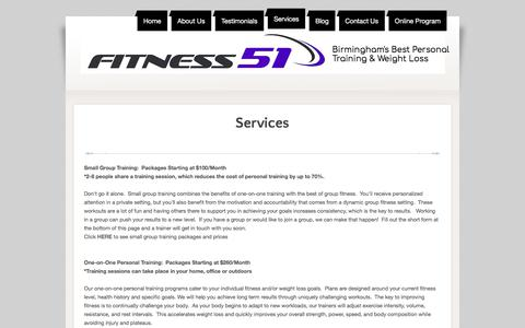 Screenshot of Services Page fitness51.com - Best Personal Training, Birmingham - Fitness 51 - captured Aug. 14, 2018