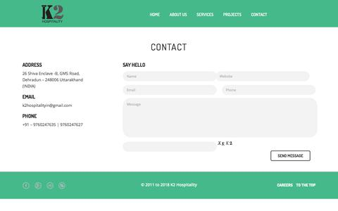 Screenshot of Contact Page k2hospitality.in - CONTACT | Hotel Management Company - captured Sept. 20, 2018