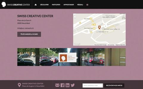 Screenshot of Contact Page scc-network.ch - SWISS CREATIVE CENTER  - Contact - captured Oct. 6, 2014