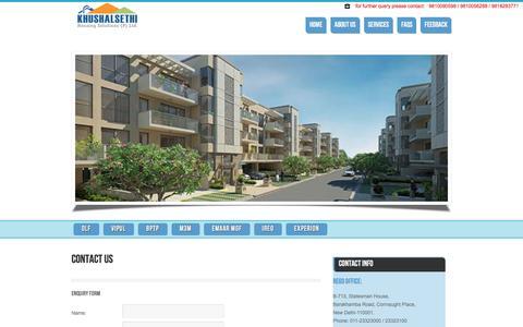 Screenshot of Contact Page khushalsethi.com - Khushal Sethi Housing Solutions - captured March 6, 2016