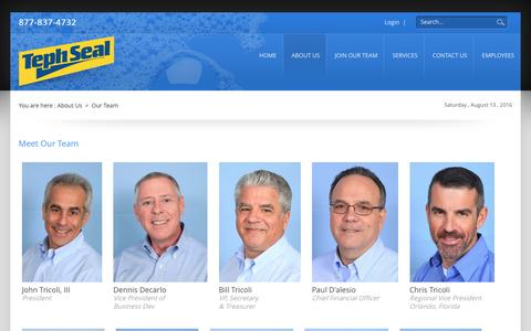 Screenshot of Team Page tephseal.com - TephSeal Auto Appearance > About Us > Our Team - captured Aug. 13, 2016