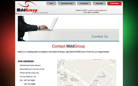 Screenshot of About Page Contact Page mdd.ae - Contact Us -Mdd Group - captured Oct. 27, 2014