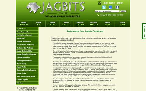 Screenshot of Testimonials Page jagbits.com - Testimonials from Jagbits Customers - captured Feb. 11, 2016