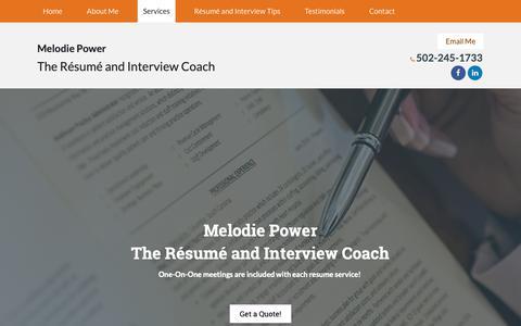 Screenshot of Services Page resumeandinterviewcoach.com - Services - The Résumé and Interview Coach - captured Oct. 18, 2018
