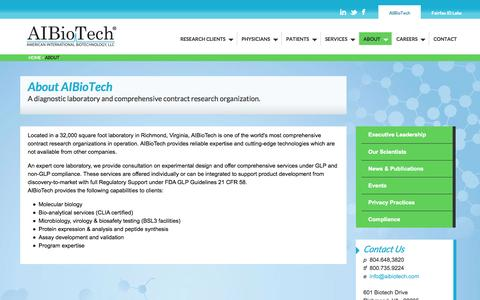Screenshot of About Page aibiotech.com - About AIBioTech, A diagnostic laboratory and comprehensive contract research organization. | AIBiotech - captured Sept. 30, 2014