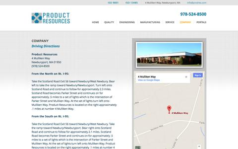 Screenshot of Maps & Directions Page prodres.com - Directions | Product Resources - captured Oct. 2, 2014