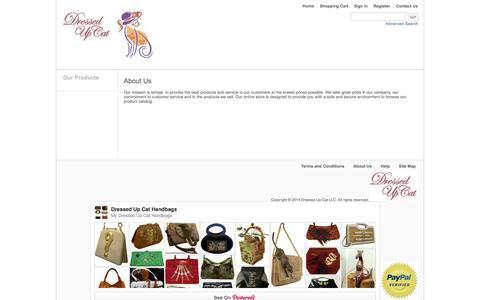 Screenshot of About Page dressedupcat.com - Dressed Up Cat  Fashion Re-fashioned Handbags - captured Oct. 5, 2014