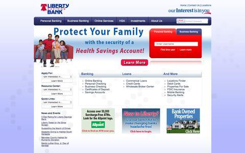 Screenshot of Home Page libertysavingsbank.com - Liberty Savings Bank - Home - captured July 13, 2018