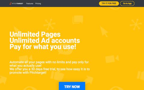 Screenshot of Pricing Page pitchtarget.com - Unlimited pages unlimited ad accounts pay for what you use! - captured July 18, 2018