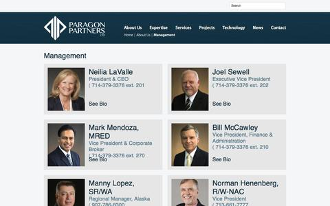 Screenshot of Team Page paragon-partners.com - Management  |  Paragon Partners Ltd – A leading Right of Way & Real Estate Consultant - captured May 14, 2017