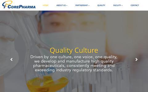 Screenshot of Home Page corepharma.com - Core Pharma - captured Sept. 29, 2018