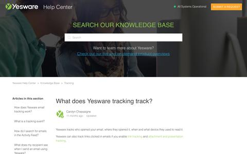 Screenshot of Support Page yesware.com - What does Yesware tracking track? – Yesware Help Center - captured July 12, 2019