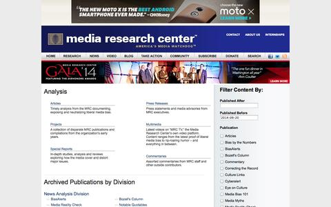 Screenshot of Site Map Page mrc.org - Media Research Center - captured Sept. 22, 2014