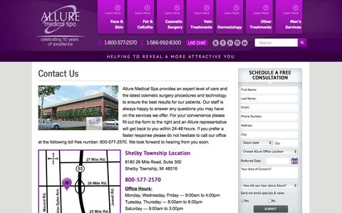 Screenshot of Contact Page alluremedicalspa.com - Contact - Allure Medical Spa - Livonia / Shelby Township, MI - captured Sept. 30, 2014