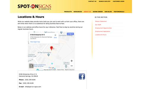 Screenshot of Locations Page spot-on-signs.com - Hours & Location, Spot-On Signs & Graphics - captured Oct. 18, 2018