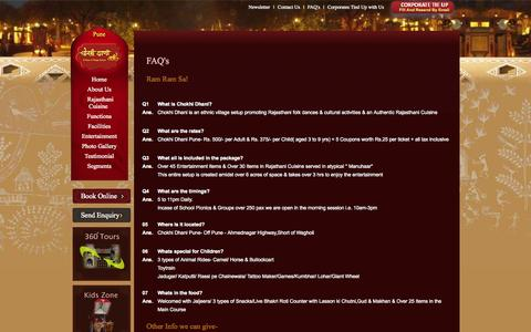 Screenshot of FAQ Page chokhidhanipune.com - Rajasthani Theme Weddings/Marriages in Pune, Wedding Marriage Banquet Lawns in Chokhi Dhani Pune - captured Sept. 23, 2014