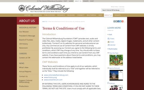 Screenshot of Terms Page history.org - Terms and Conditions of Use of the Colonial Williamsburg Website : The Colonial Williamsburg Official History & Citizenship Site - captured Sept. 25, 2014