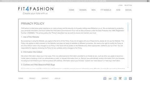 Screenshot of Privacy Page fit4fashion.co.uk - Privacy Policy | Fit4Fashion - captured Sept. 30, 2014