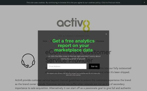 Screenshot of Support Page a8uk.com - Customer Service — Activ8 - captured Sept. 22, 2018