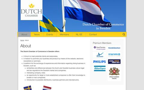 Screenshot of About Page dutchchamber.se - About   Dutch Chamber of Commerce in Sweden - captured Oct. 27, 2014