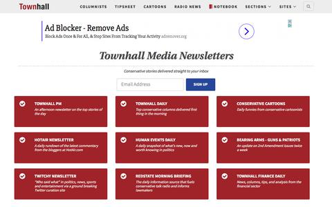 Screenshot of Signup Page townhall.com - Conservative news, politics, opinion, breaking news analysis, political cartoons and commentary – Townhall - captured June 20, 2017