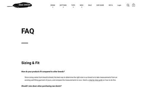 Screenshot of FAQ Page rogueterritory.com - FAQ – Rogue Territory - captured Sept. 30, 2018