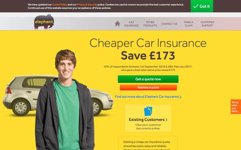 Screenshot of Home Page elephant.co.uk - Cheap Car Insurance Quotes from Elephant - captured June 26, 2017