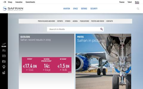 Screenshot of Press Page safran-group.com - Media | Safran - captured Feb. 25, 2016