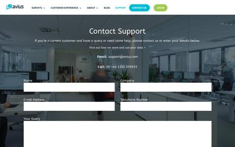 Screenshot of Support Page avius.com - Contact Support | Avius Customers | Avius Surveys | Avius Optimus - captured July 5, 2018