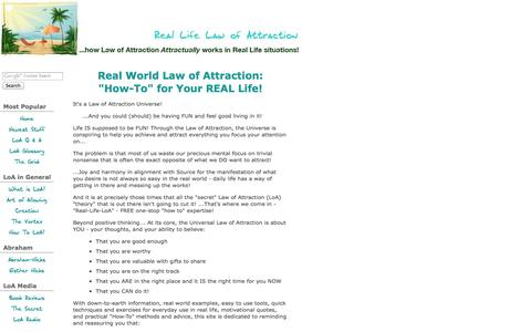 Screenshot of Home Page real-life-law-of-attraction.com - Real Life Law of Attraction: Abraham Hicks, Universal Laws of Attraction & more! - captured Sept. 23, 2014