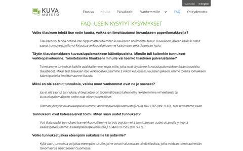 Screenshot of FAQ Page kuvamuisto.fi - FAQ - captured Oct. 16, 2018